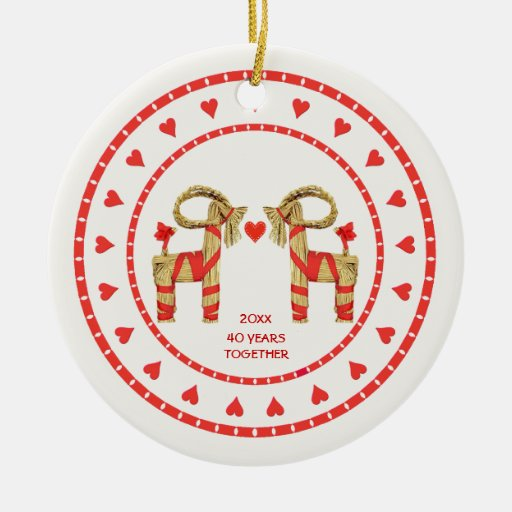 Swedish Straw Goats 40 Years Together Dated Double-Sided Ceramic Round Christmas Ornament