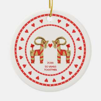 Swedish Straw Goats 50 Years Together Dated Ceramic Ornament
