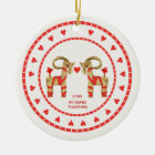Swedish Straw Goats 60 Years Together Dated Ceramic Ornament