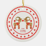 Swedish Straw Goats 60 Years Together Dated Double-Sided Ceramic Round Christmas Ornament