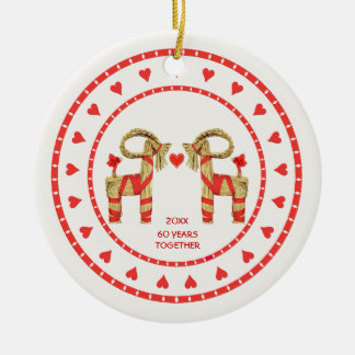 Swedish Straw Goats 60 Years Together Dated Christmas Tree Ornament
