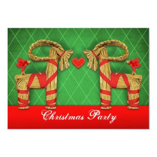 Swedish Straw Goats Christmas Holiday Party Custom Card
