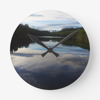 Swedish stunning lake round wall clocks
