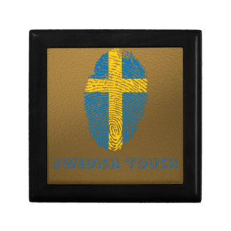 Swedish touch fingerprint flag jewelry box