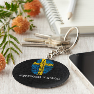 Swedish touch fingerprint flag keychain