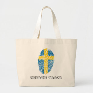 Swedish touch fingerprint flag large tote bag