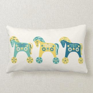 Swedish Toy Horses Throw Pillow