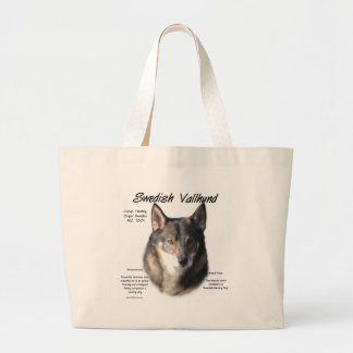 Swedish Vallhund History Design Large Tote Bag