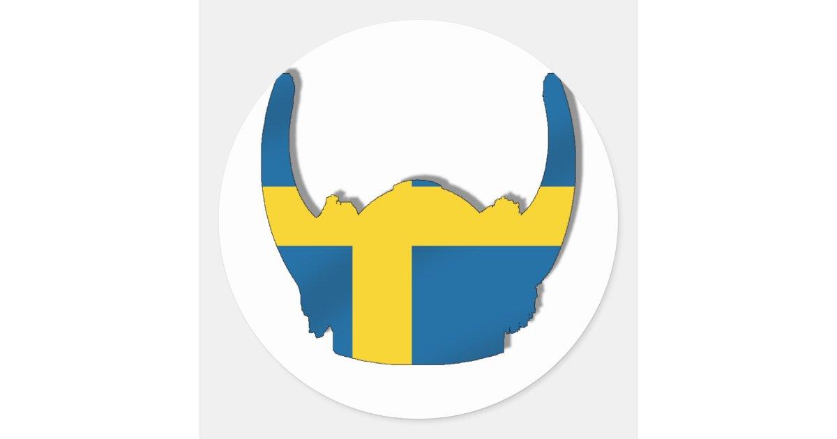 swedish viking helmet flag of sweden classic round sticker