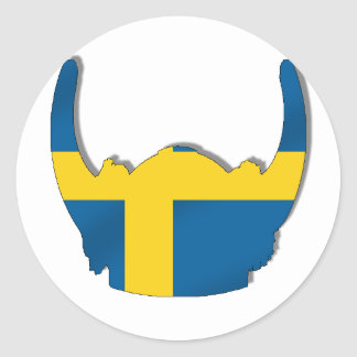 Swedish Viking helmet flag of Sweden Round Sticker