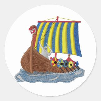 Swedish Viking Ship Round Sticker