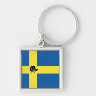 Swedish Viking Ship with Flag of Sweden Keychain