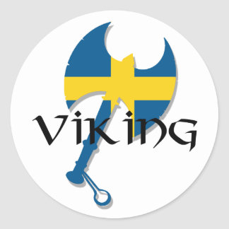 Swedish Viking Sweden flag Axe Classic Round Sticker