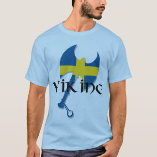 Swedish Viking Sweden flag Axe T-Shirt