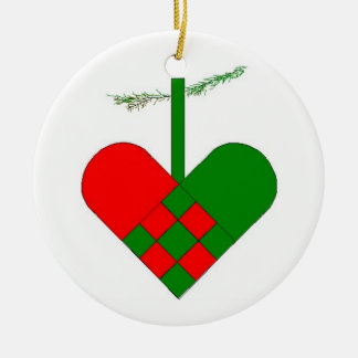 Swedish Woven Paper Heart Scandinavian Double-Sided Ceramic Round Christmas Ornament