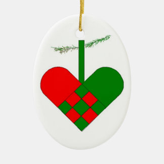 Swedish Woven Paper Heart Scandinavian Double-Sided Oval Ceramic Christmas Ornament