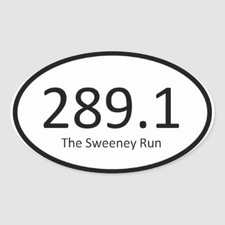 Sweeney corre - 289,1 pegatina ovalada