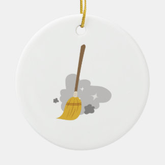 Sweep Broom Ceramic Ornament