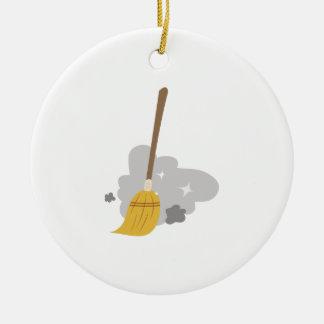 Sweep Broom Ceramic Ornament