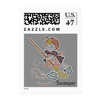 Sweeper Girl Postage Stamp
