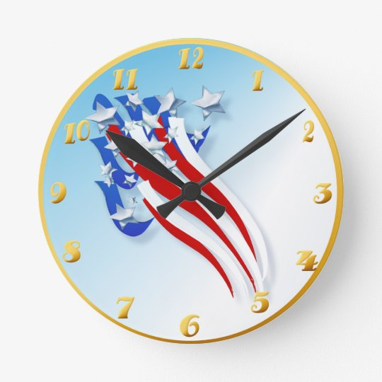Sweeping Old Glory Wallclock