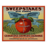 Sweepstakes Fruit Crate Label Poster