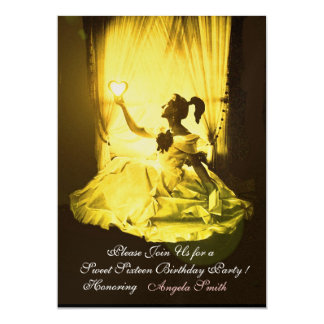 "SWEET16 BIRTHDAY PARTY YELLOW BLACK DAMASK Gold 5"" X 7"" Invitation Card"