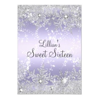Sweet16 Diamond Snowflake Purple Winter Wonderland 5x7 Paper Invitation Card