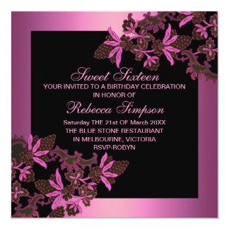 Sweet16 Floral Pink Birthday Invitation