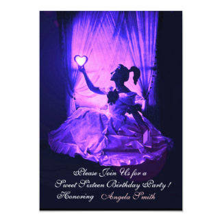 "SWEET16 PARTY,PINK BLUE BLACK DAMASK 5"" X 7"" INVITATION CARD"
