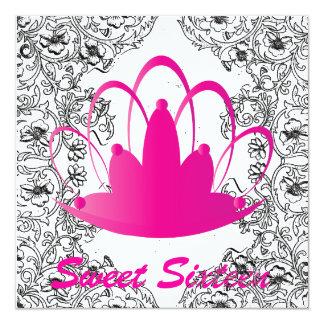 Sweet16 Royal Tiara Black/White/Fuschia Invitation