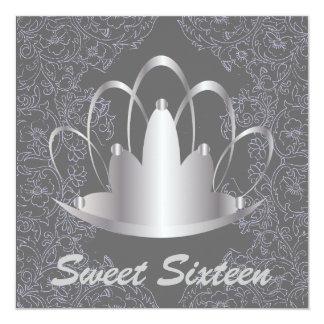 "Sweet16 Royal Tiara Silver Invitation - Customize 5.25"" Square Invitation Card"