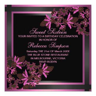 Sweet16 Spring Floral Pink Birthday Invitation