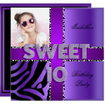 Sweet 10 10th Birthday Zebra Cow Purple Black Invitation