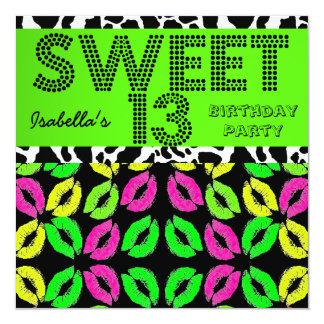 Sweet 13 13th Birthday Lips Cow Lime Pink Black Card