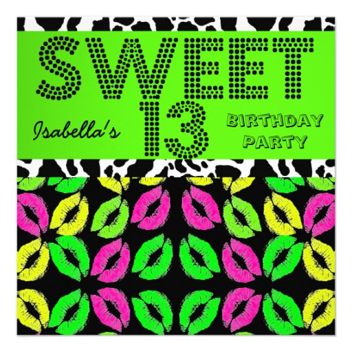 Sweet 13 13th Birthday Lips Cow Lime Pink Black Custom Invites