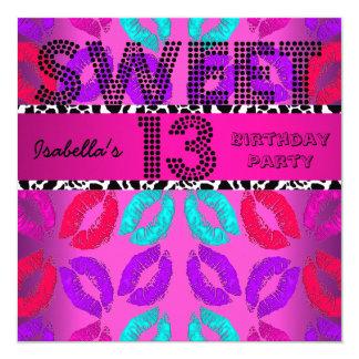 Sweet 13 13th Birthday Lips Cow Pink Black Invitation