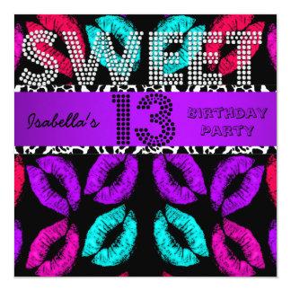 Sweet 13 13th Birthday Lips Cow Purple Black Invites