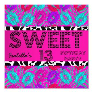 Sweet 13 13th Birthday Lips Cow Purple Pink Teal Card