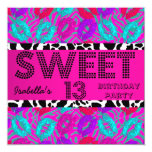 Sweet 13 13th Birthday Lips Cow Purple Pink Teal 5.25x5.25 Square Paper Invitation Card