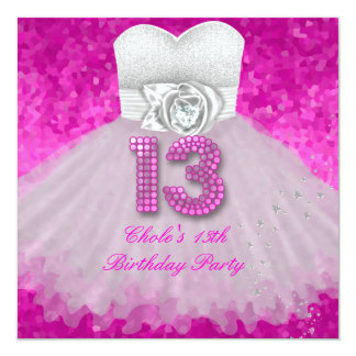 Sweet 13 13th Birthday Party Girls Hot Pink Personalized Invite