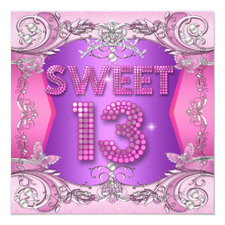 Sweet 13 13th Birthday Party Pink Purple Card