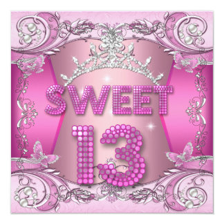 Sweet 13 13th Birthday Party Pink Silver Tiara Announcements