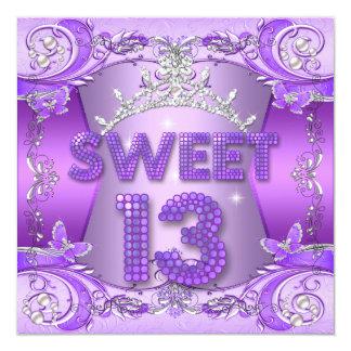 Sweet 13 13th Birthday Party Purple Silver Tiara Custom Invite