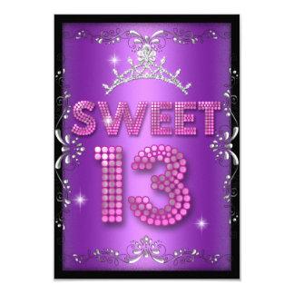 Sweet 13 13th Birthday Pink Purple Black Card