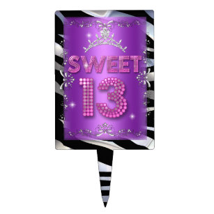 Sweet 13 13th Birthday Pink Purple Zebra Cake Topper