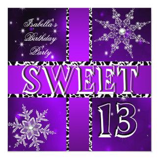 Sweet 13 13th Birthday Purple Winter Wonderland 2 Card