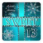 Sweet 13 13th Birthday Teal Winter Wonderland 2 Invitation