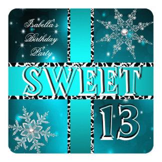 Sweet 13 13th Birthday Teal Winter Wonderland 2 5.25x5.25 Square Paper Invitation Card