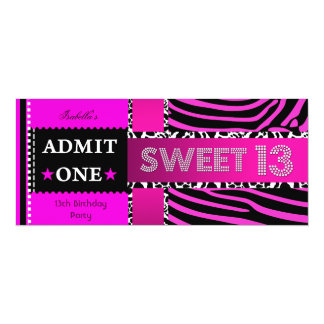 Sweet 13 13th Birthday Zebra Cow Hot Pink Black Card